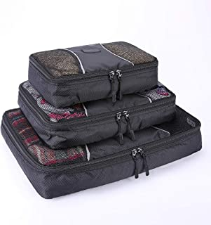 ABO Gear Travel Packing Cubes, Luggage Travel Accessories Organizer Bags, 3pc Set (One Large, One Medium, One Small), Black