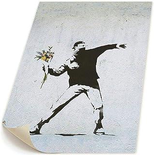 K-Duck The Flower Thrower Banksy 絵画 ポスター 装飾画 キャンバスアート 壁画 壁掛け パネル絵 モダンアート版画 壁飾り 48x58cm