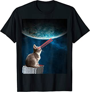 cats on pizza in space shirt