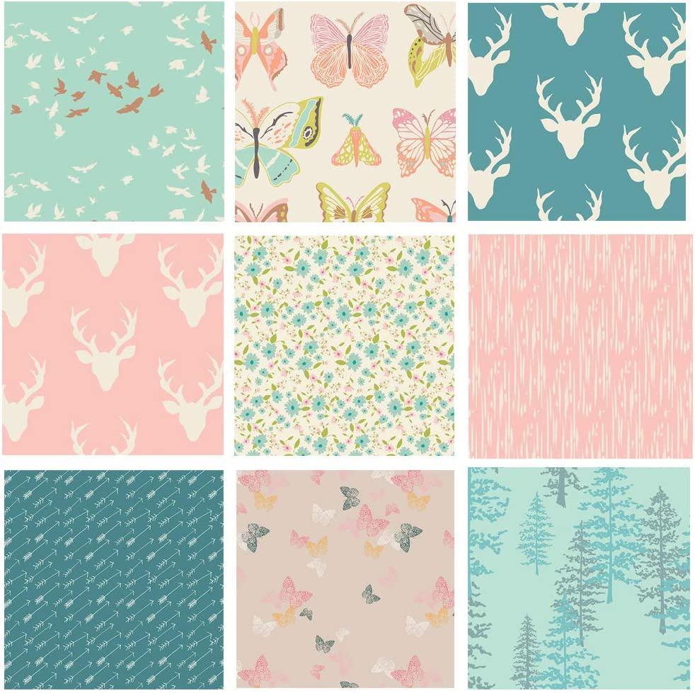 Hello Bear Girl's Nursery Quilt Pink ふるさと割 Woodland Fabrics Bundle お買い得品