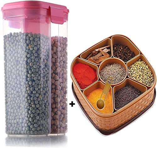 Today life style Combo Offer Pack of 2 1 pcs Unbreakable wasable airtight Masala Box Multipurpose use and 1 pcs 2 in 1 Storage Container 2 Letter Free