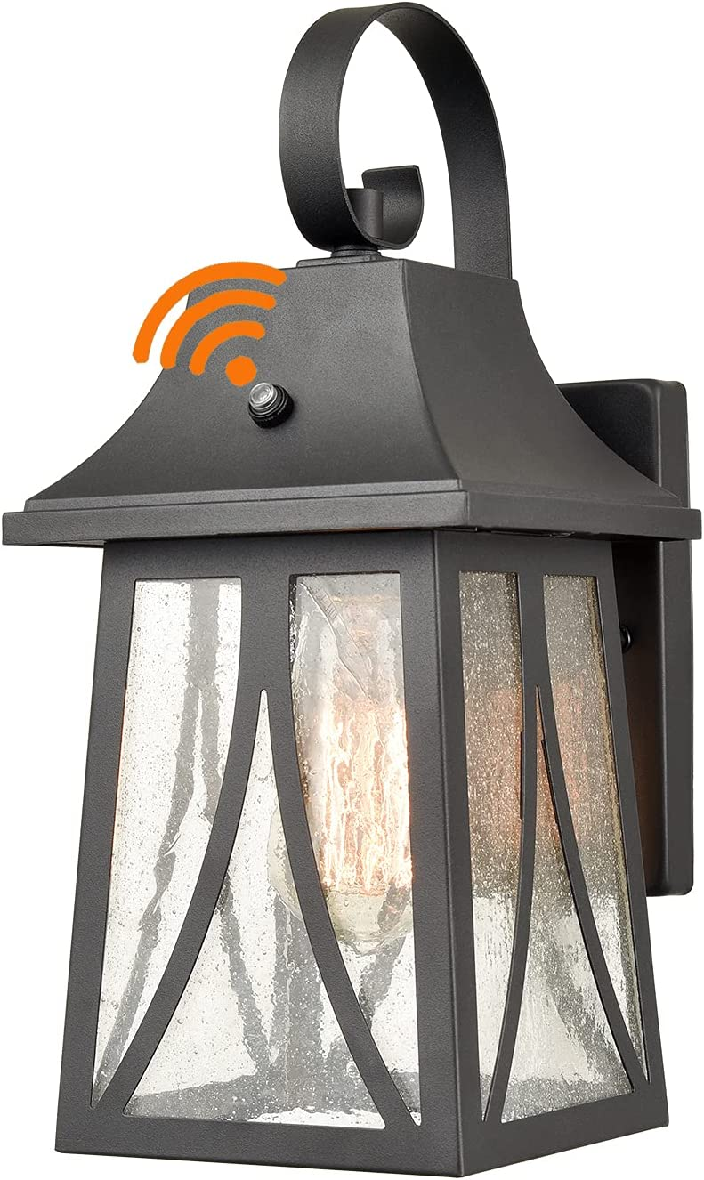 Outdoor Dusk New York Mall to Dawn Cheap mail order sales Wall Lantern Finish with Seeded Glass Black