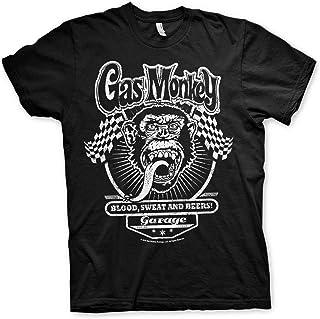 Gas Monkey Garage Licenciado Oficialmente GMG Flags Hombres Camiseta (Negro)