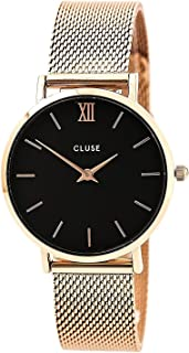 CLUSE Minuit Mesh Rose Gold Black CL30016 Women's Watch 33mm Stainless Steel Strap Minimalistic Design Casual Dress Japanese Quartz Elegant Timepiece