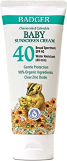 Badger - SPF 40 Baby Sunscreen Cream with Clear Zinc Oxide - Broad Spectrum & Water Resistant, Reef Safe Sunscreen, Natura...