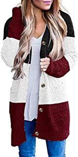 Ivay Womens Color Block Cardigan Sweaters Long Sleeve Open Front Button Coat with Pockets