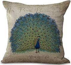 ChezMax Linen Blend Elegant Green Peacock Cushion Cotton Square Decorative Throw Pillow 18 X 18'', Cover Material: Cotton ...