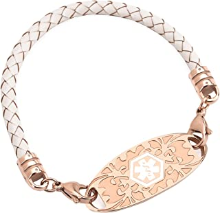 BAIYI Medical Alert ID Bracelets Rose Gold Tags with Bolo Leather Rope Emergency Bangle for Women 6-8inch Free Engraving