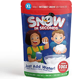 Snow in Seconds Instant Snow Fake Artificial Snow XL Bag - Great for Making Cloud Slime (Makes 10 gallons of Fake Snow)