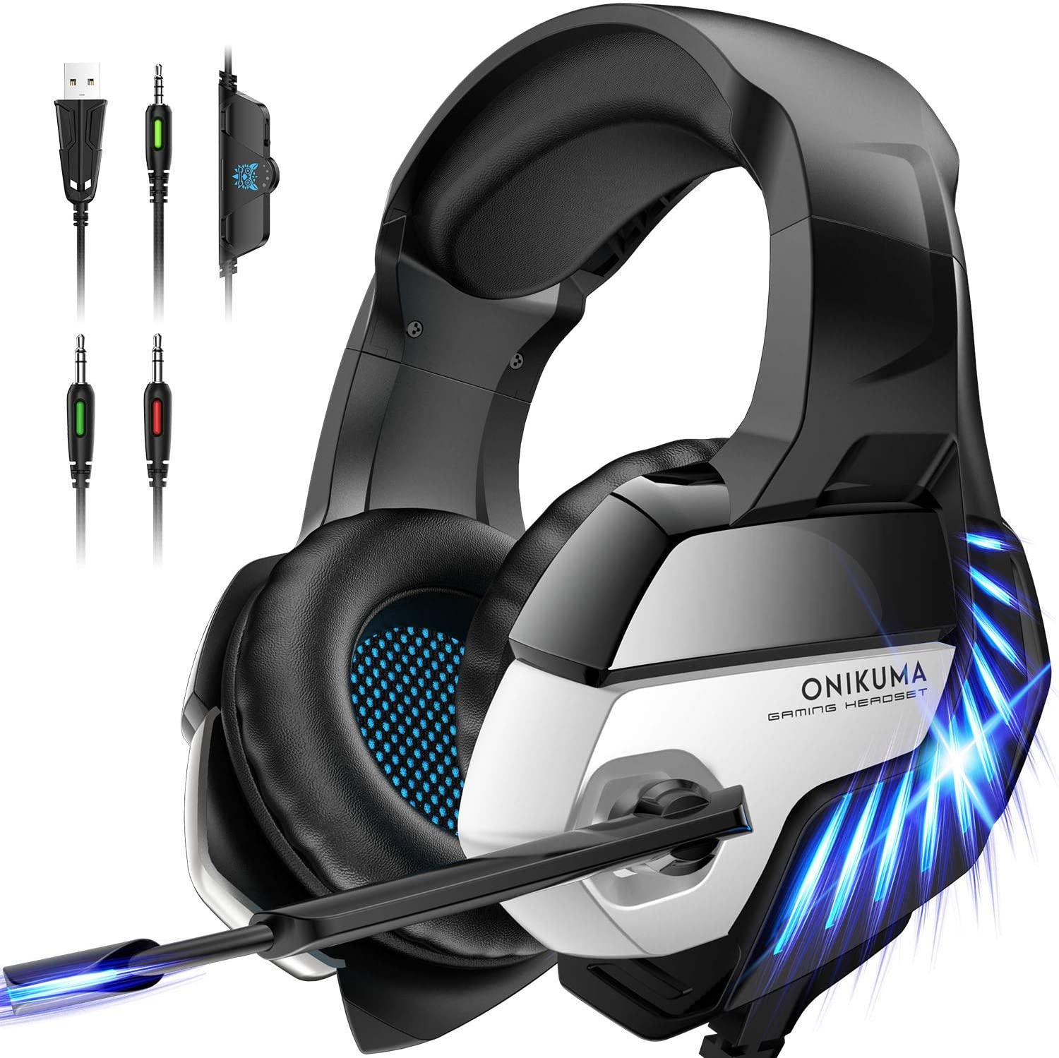 ONIKUMA Gaming Headset for PS4, PS4 Gaming Headset with 7.1 Surround Sound, Xbox One Headset with Noise Canceling Mic LED Light, Over-Ear Headphones for PS4, Xbox One, PC, Mac, Laptop (Black)
