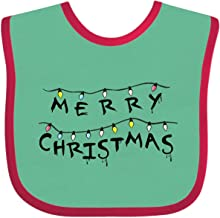 Inktastic Merry Christmas with Strange Lights Baby Bib Green and Red