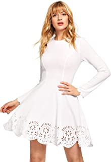 Women's Scalloped Hem Stretchy Knit Flared Skater A-line Dress