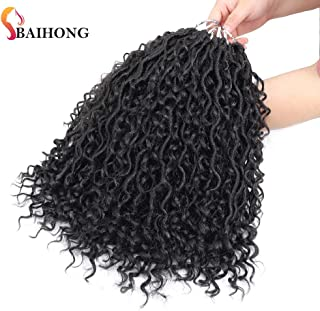 (14 inch, 1B,24 Roots,80g/pack) BaiHong 6 Packs Goddess Locs Crochet Hair with Passion Twist Hair Nature Color Synthetic Crochet Braids Hair Extensions (14 inch, 1B)