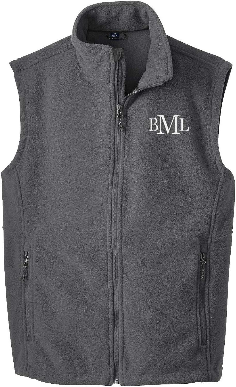 Cotton Sisters Men's Monogrammed Fleece Vest - Personalized Grey Fleece Vest