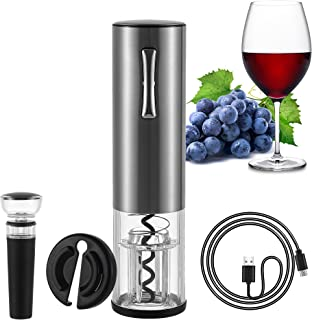 Electric Wine Opener Set - Automatic Wine Bottle Opener Screwpull Corkscrew Rechargeable with Foil Cutter Vacuum Stopper U...