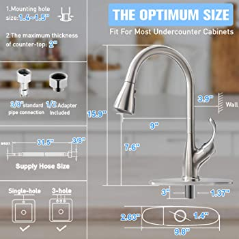 APPASO Pull Down Kitchen Faucet with Sprayer Stainless Steel Brushed Nickel - Single Handle Commercial High Arc Pull ...