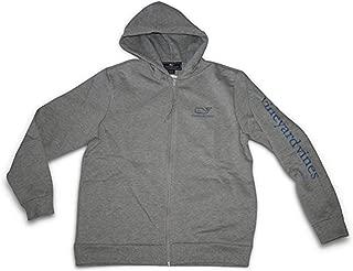 Men's Full Zip VV Whale Graphic Hoodie Sweatshirt (Large) Gray Hoody