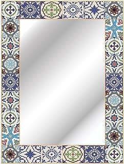 CustomGlass Espejo Rectangular de Pared Modelo Mohlin de 80 x 60 cm con decoración Personalizado Estilo Retro rústico clás...