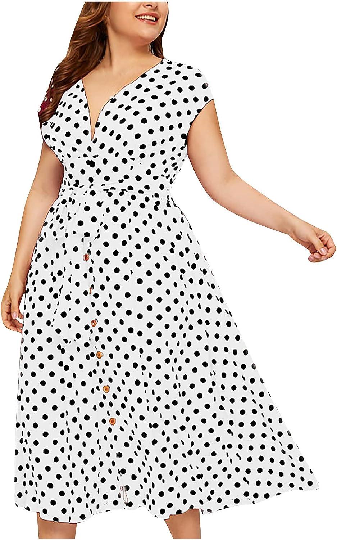 JPVDPA Women Plus Size V-Neck Polka Dot Print Dress Button Lace-up Waist Skirt Cold Shoulder Short Sleeve Dress