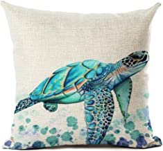 Beautiful Watercolor Beach Sea Turquoise Color Animals Sea Turtle Swimming Print Cotton Linen Throw Pillow Case Cushion Co...