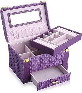 Boîte à Bijoux en Cuir avec Miroir Affichage âge boîtier Bijoux âge boîte Accessoires vitrine vitrine Mode/Rose / 23 * 17 ...