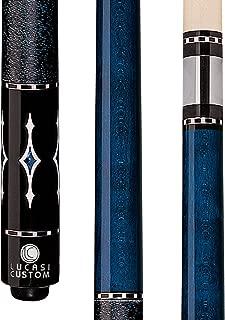 Lucasi Custom Luminous Blue Birds-Eye Pool Cue with Blue and White Diamond Inlays