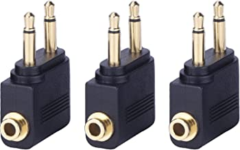 eBoot Airplane Airline Flight Adapters for Headphones (3 Pack, Golden Plated)