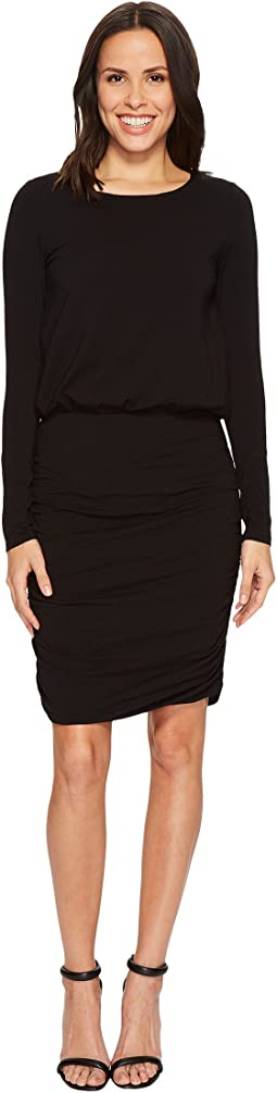Mod-o-doc - Cotton Modal Spandex Jersey Long Sleeve Blouson Dress with Shirred Skirt