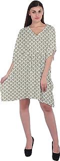 RADANYA Ikkat Loose Short Dress Cotton Kaftan Caftans for Women