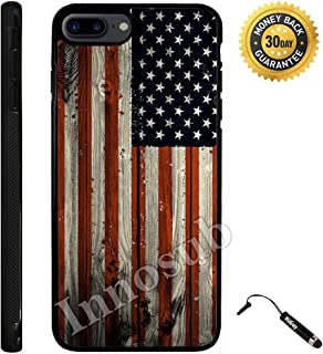 Custom iPhone 7 PLUS Case (American Flag on Wood) Edge-to-Edge Rubber Black Cover with Shock and Scratch Protection | Lightweight, Ultra-Slim | Includes Stylus Pen by Innosub