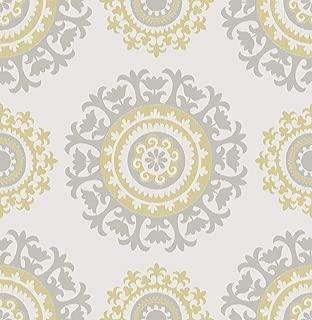 NuWallpaper NU1652 Grey and Yellow Suzani Peel & Stick Wallpaper