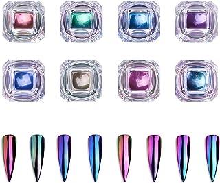 Biutee Nail Chameleon Powder 8 colors Magic Mirror Powder Nail Glitter Nail Chrome Powder Manicure Unicorn Chrome Pigments with 8 pcs Eyeshadow Sticks