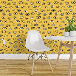 Spoonflower Pre-Pasted Removable Wallpaper, Yellow Eyes Abstract Funky Illustration White Black Evil Eye Magical All Seeing Lucky Charm Symbol Print, Water-Activated Wallpaper, 12in x 24in Test Swatch