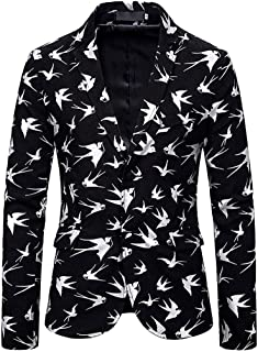 Stoota Men's Stylish Dinner Jacket Wedding Blazer Dress Suit, Business Wedding Party Cobweb Gold Stamping Button Coat