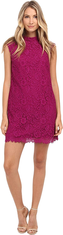 Donna Morgan Women's Sleeveless Funnel Neck Lace Shift Dress