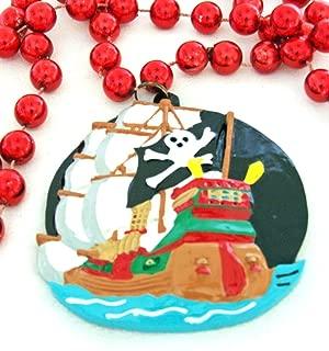 Pirate Ship Medallion Flying Black Flag Mardi Gras Bead Necklace Spring Break Cajun Carnival Festival New Orleans Beads