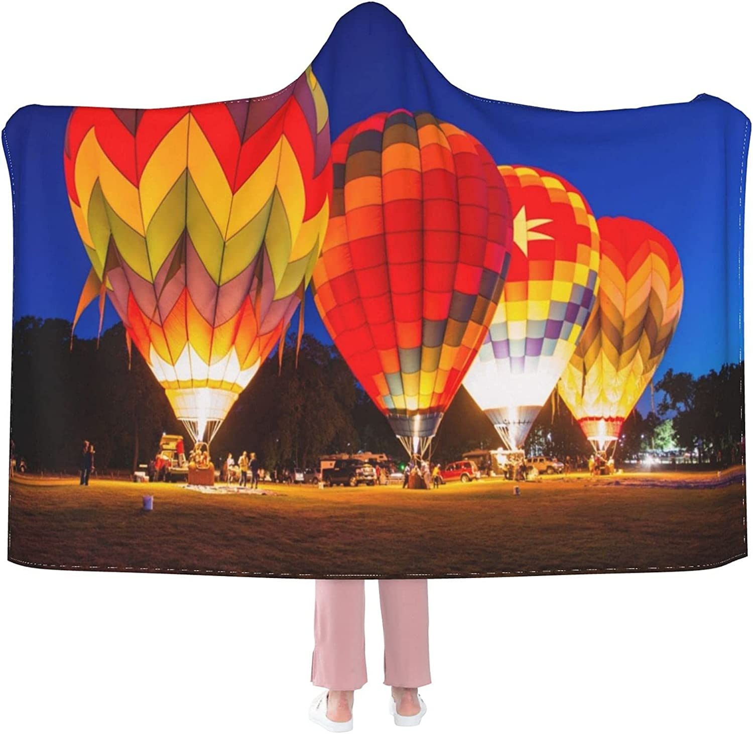 Hot Air Balloons Glowing at Flannel Weara Wearable Blanket Baltimore Mall Max 59% OFF Night