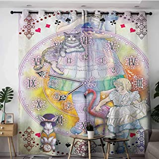 AGONIU Grommet Window Curtains,in Wonderland Magical Fantasy World of Adventure Clock Flamingo Cheshire Cat Rabbit Retro,Curtains for Living Room,W120x96LMulti