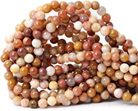 Qiwan 60PCS 6mm Natural Petrified Wood Jasper Gemstone Smooth Round Loose Beads for Bracelet Necklace Earrings Jewelry Making Crafts Design 1 Strand 15