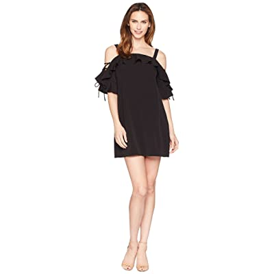Laundry by Shelli Segal Crepe T Body Dress with Lace-Up Sleeves (Black) Women
