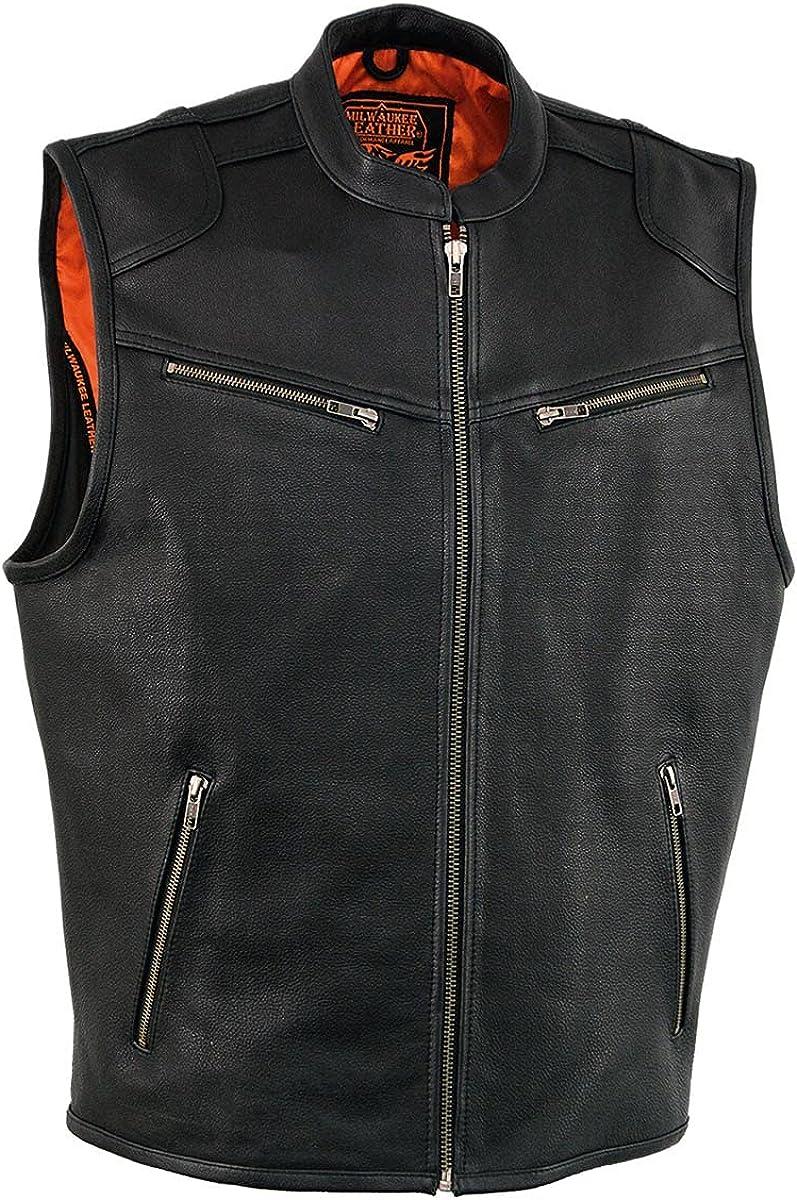 Milwaukee Leather MLM3502 Men's Cool-Tec Black Leather Zipper Vest