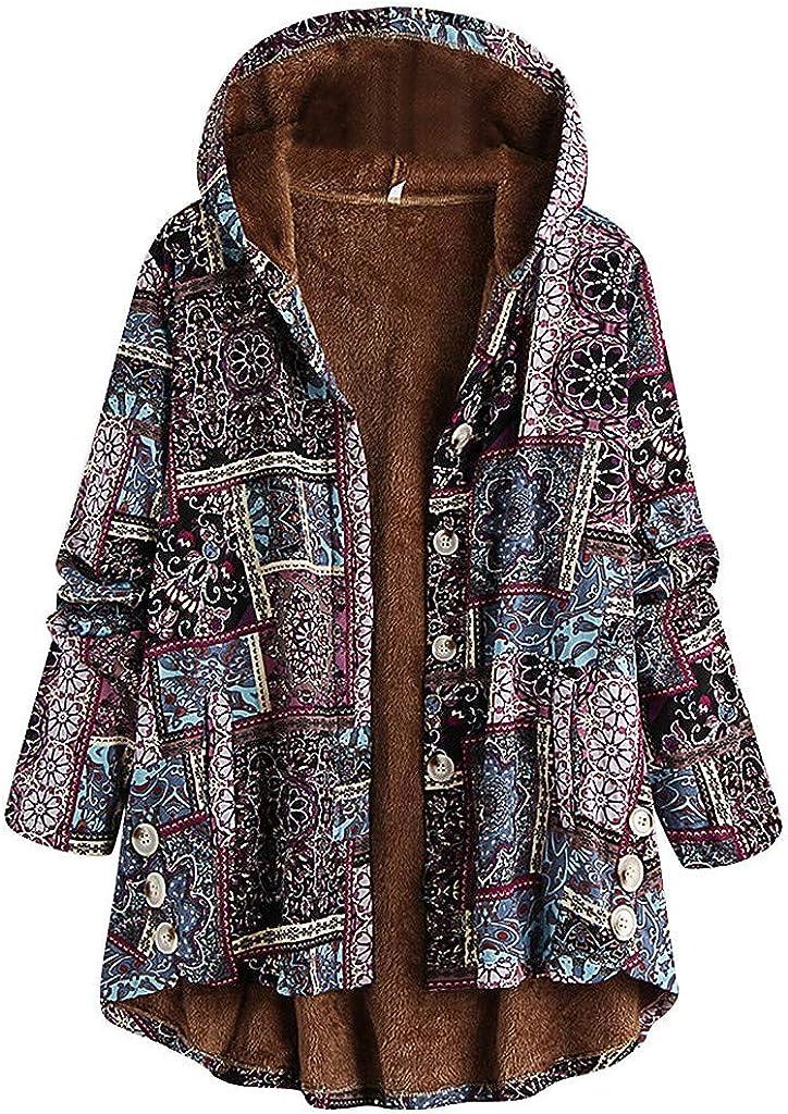 Plus Size Women Winter Warm Vintage Floral Printed Thicker Button Coat Outwear Windbreaker Jacket Pea Coat Trench
