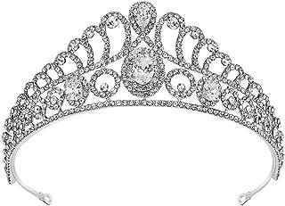 SWEETV Rhineshtone Wedding Tiara for Women - Silver Bridal Tiara Headband, Women Crown for Brides and Bridesmaids, Jeweled Hair Accessories with Clear Gemstone