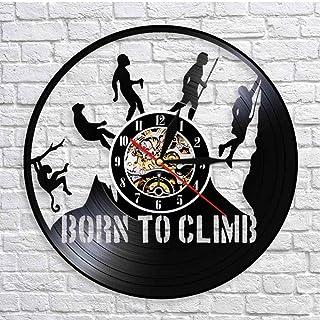 GYJCD Climbing Mountain Evolution Climber Reloj De Pared Climbing Vinyl Record Reloj De Pared Nacido para Escalar Deocrative