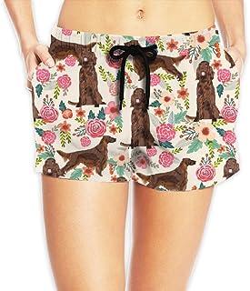 アイルランドのセッター花の花ペットの犬の生地Cream_266 ショートパンツ レディース おしゃれ フィットネスパンツ スポーツ 短パン ビーチパンツ ランニング 水着 サーフパンツ