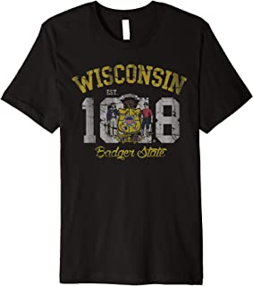 Vintage Fade Wisconsin Badger State Flag  Premium T-Shirt