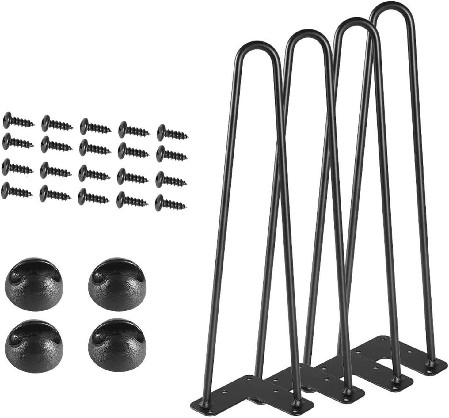 Sanbo Hairpin Table Legs,16in Set of 4, DIY Furniture Metal Coffee Table Leg,3/8in Diameter Satin Black 2-Rod Mid Century Modern Style