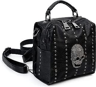 UTO Women Small Skull Backpack Rivet Studded 3 Ways Convertible Mini Handbag PU Leather Purse Crossbody Shoulder Bags