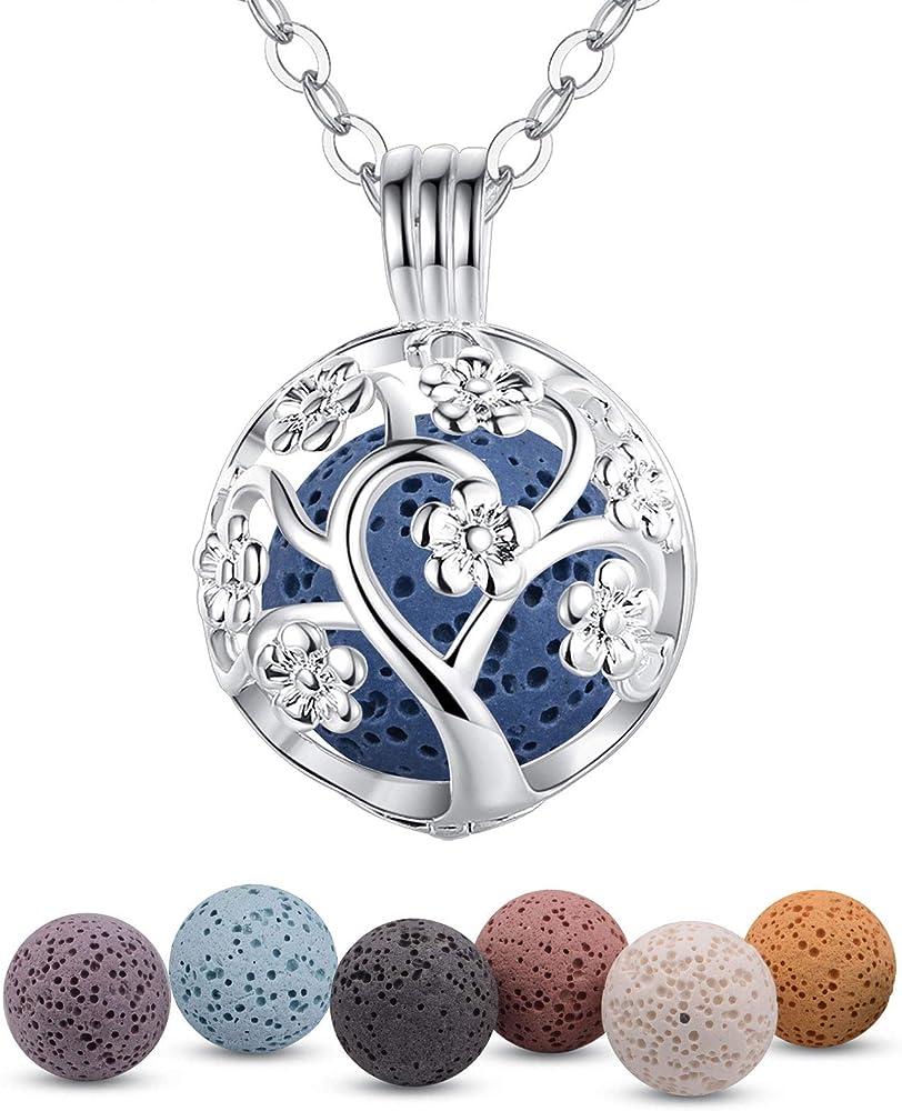 Infuseu,collana con pendente a forma di medaglione in argento con aromaterapia e olio essenziale FB-IN11-K307N14F6PC-PLT28-24