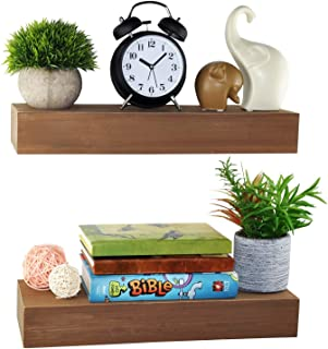 Spiretro Dimension Floating Shelves Wall Mounted Set of 2, Rustic Wood -16.5 inch Ledge to Storage Organize and Display for Bedroom, Living Room, Bathroom, Kitchen, Office - Farmhouse Teak Brown
